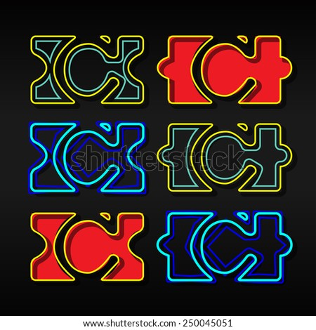 Alphabet written with puzzle - Letter C - stock vector