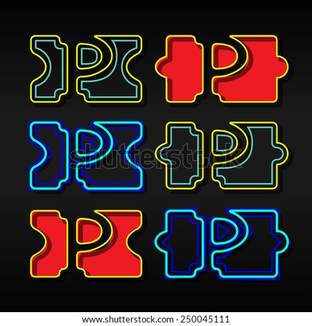Alphabet written with puzzle - Letter P - stock vector