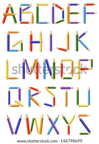 Alphabetical color pencils. The creative alphabet. Color pencils as letters. For unique dressing Your texts. - stock vector