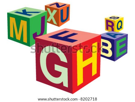Alphabetical toys in cube shape - stock vector