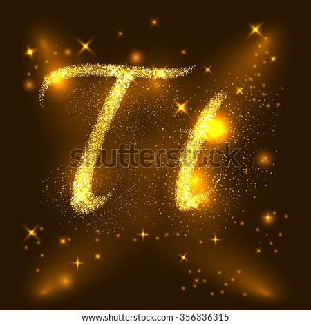 Alphabets T of gold glittering stars. Illustration vector