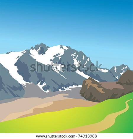Alpine Mountain landscape vector - stock vector