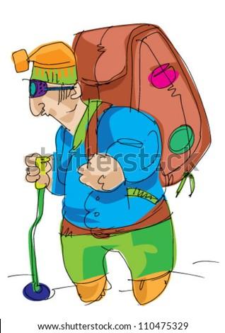 alpinist - stock vector
