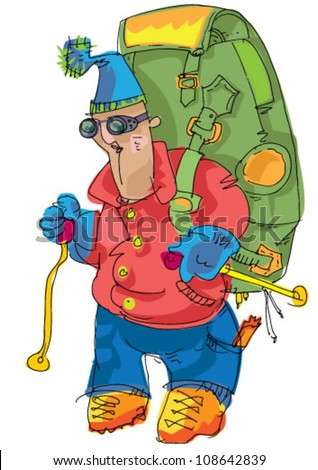 alpinist - cartoon - stock vector