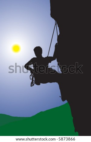 Alpinist, climber, mointaineer, sports - stock vector