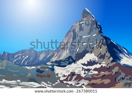 Alps Matterhorn mountain summer landscape - stock vector