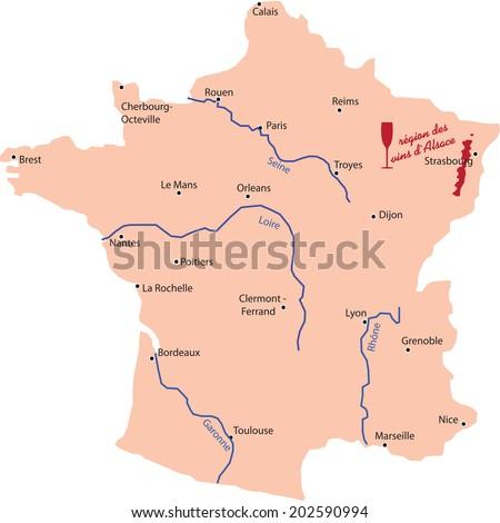Alsace Wine Region Map Stock Vector 202590994 Shutterstock