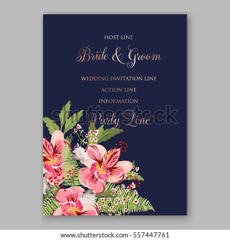 Alstroemeria Wedding Invitation tropical floral printable template. Bridal Shower bouquet privet berries, vector flower, illustration in vintage watercolor style