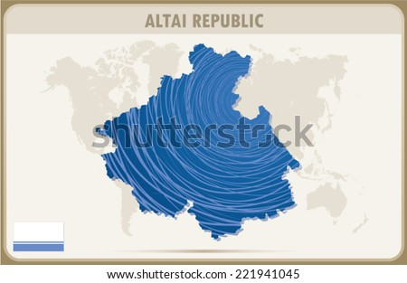 ALTAI REPUBLIC map graphic design, Vector.