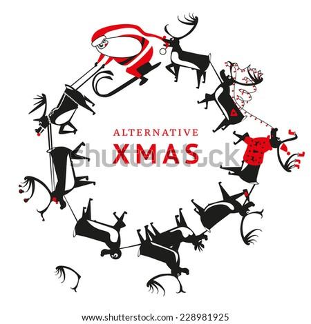 Alternative Christmas. Santa and Christmas deers. Vector illustration - stock vector