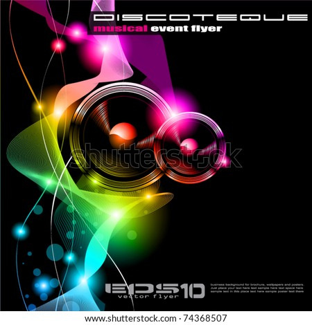 Alternative Disco Flyer for International Music Event - stock vector