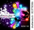 Alternative Discoteque Music Flyer with Attractive Rainbow Colours and an explosion of colurs and lights. - stock photo