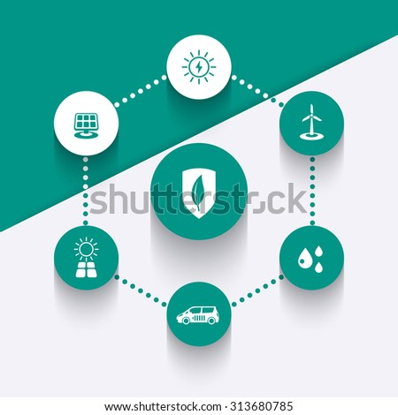 Alternative energetics, green ecologic technologies, round icons, vector illustration, eps10 - stock vector