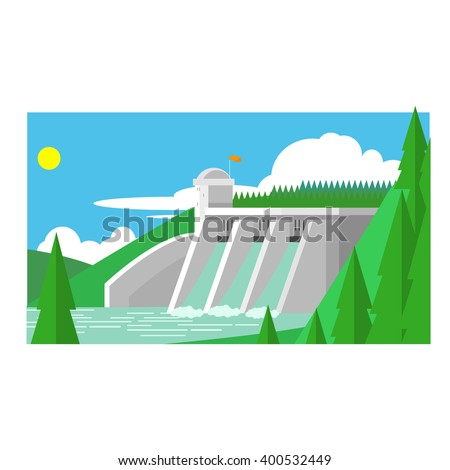 Alternative Energy Dam Flat Vector Illustration In Simplified Style
