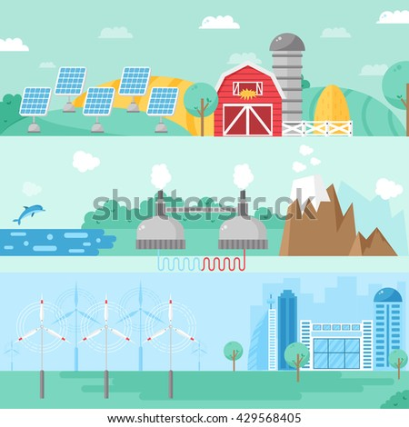 Alternative energy design concept set with eco fuel and alternative energy house flat icons isolated vector illustration. Alternative energy banners concept and fuel business sign alternative energy. - stock vector