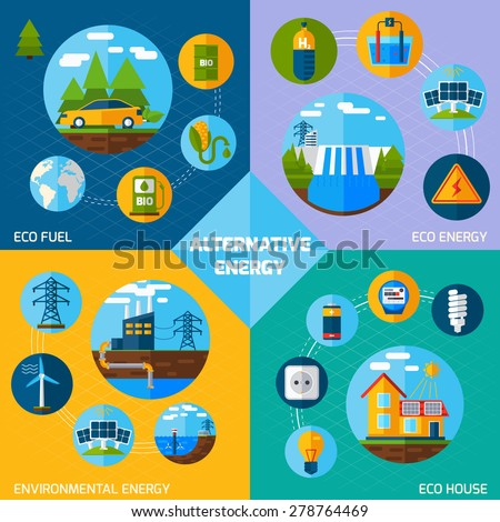 Alternative energy design concept set with eco fuel and house flat icons isolated vector illustration - stock vector