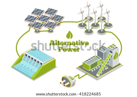 Alternative energy, eco or green generators. Power, ecology, technology, electricity. Vector illustration - stock vector