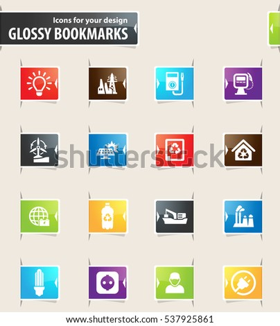 Alternative energy icons for your design glossy bookmarks