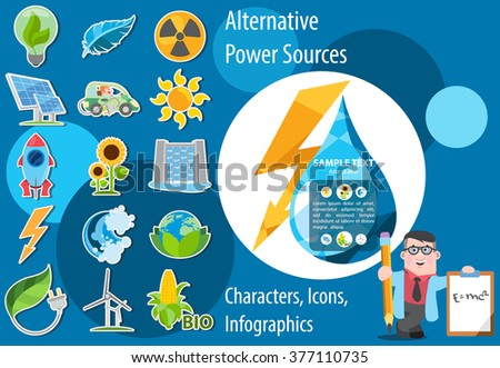 Alternative energy icons. Solar panels, wind turbines, hydro dam, biological energy sources. - stock vector