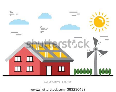 Alternative energy illustration. Alternative energy concept. Solar energy. Solar panels. Wind energy. Wind electrical generator. - stock vector