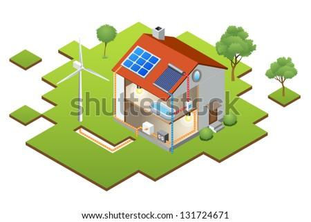 Alternative Energy - isometric house with solar panel and windmill - stock vector