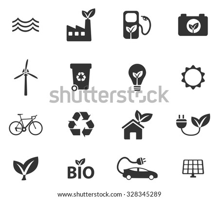 Alternative energy simple vector icons - stock vector