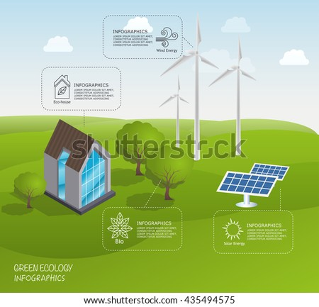 alternative energy sources and eco-house on the hill, landscape 3D infographic - stock vector