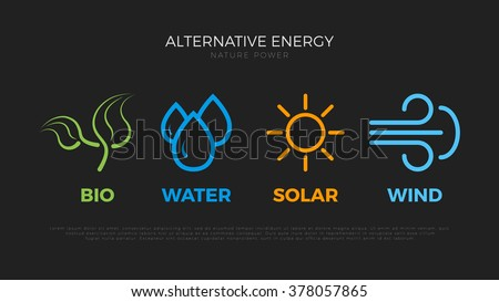 Alternative energy sources logo. Templates for renewable energy or ecology logos. Nature power symbols. Simple icons of alternative energy sources. Four elements icons. Pictograph. - stock vector