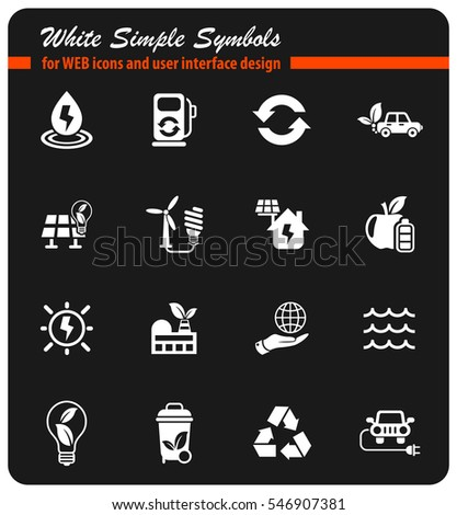 alternative energy white simple symbols for web icons and user interface design