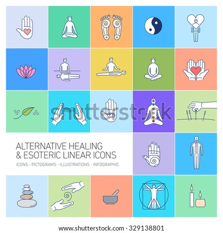alternative healing and esoteric linear icons set on colorful background | flat design illustration and infographic - stock vector