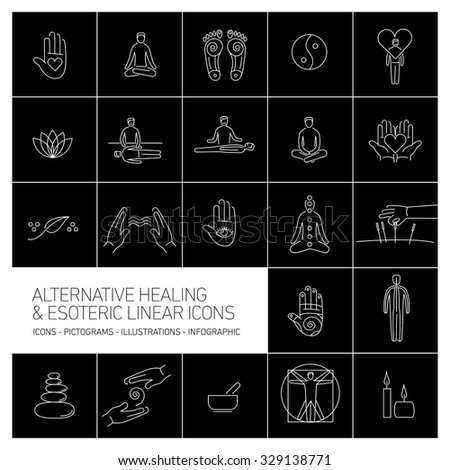 alternative healing and esoteric linear icons set white on black background | flat design illustration and infographic - stock vector