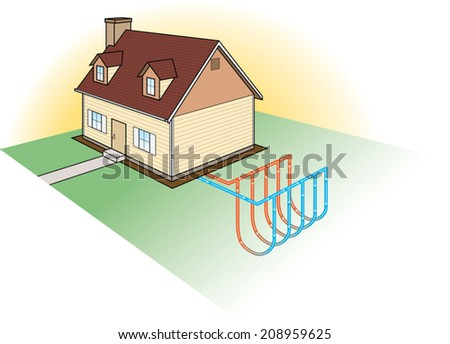 Geothermal house stock images royalty free images for Alternative heating systems for homes