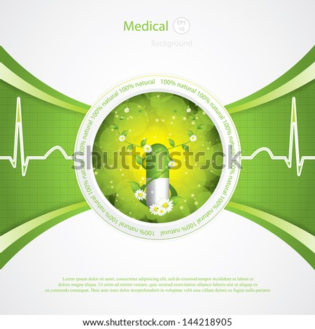Alternative medication concept - herbal pill vector - stock vector