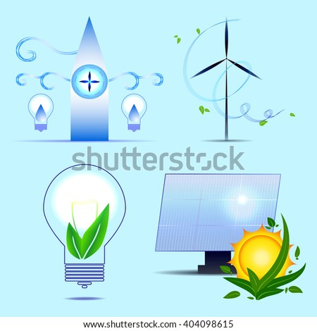 Alternative sources of energy. Vector set. Solar power, wind, bioenergy, tidal power. - stock vector