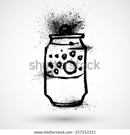 Aluminum can in grunge style - stock vector