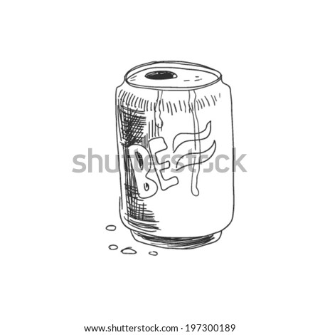 aluminum cans, doodle illustration - stock vector