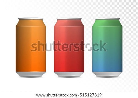 Aluminum cans ideal for beer, lager, alcohol, soft drinks, soda, fizzy pop, lemonade, cola, energy drink, juice, water etc. vector design.