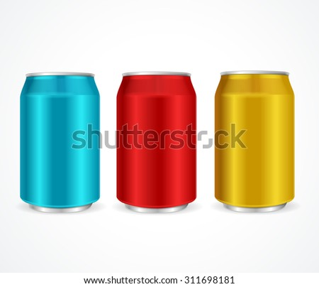 Aluminum Colorful Cans Template Isolated on White Background. Vector illustration