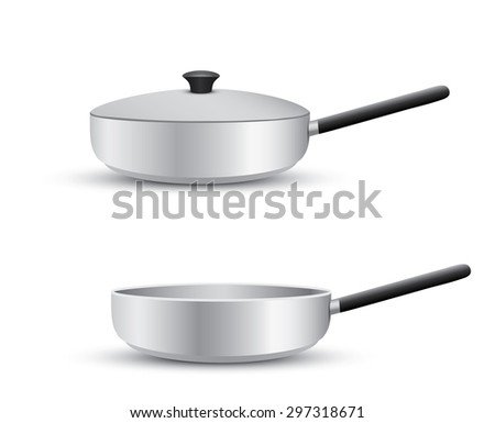 Aluminum frying pan isolated on white background - stock vector