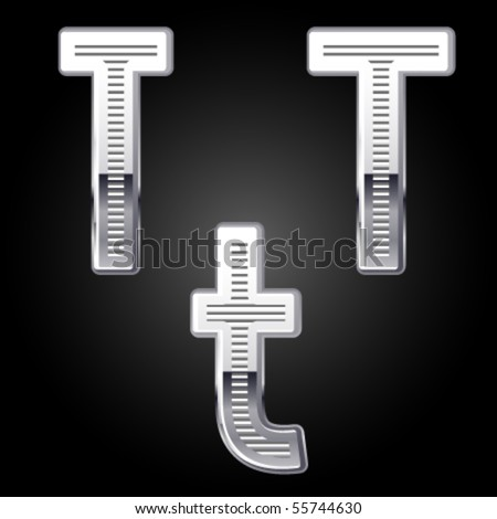 Aluminum or chrome engraved characters. t - stock vector