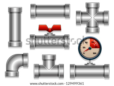 aluminum pipes collection - stock vector