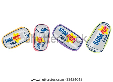 Aluminum soda pop cola cans viewed at different angles - stock vector