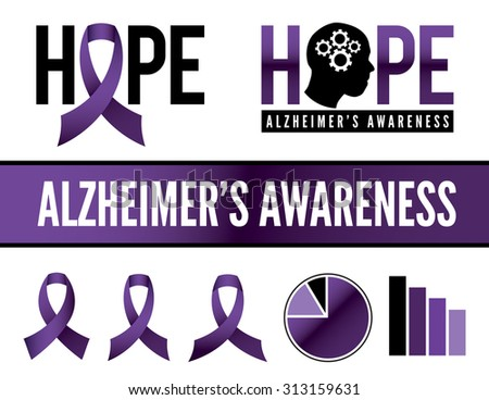 Alzheimer's disease awareness icons, badges, and graphics. Vector EPS 10. - stock vector