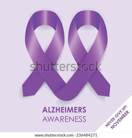 alzheimers ribbon - stock vector