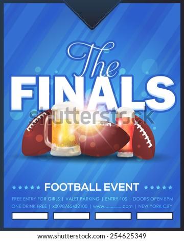 Amarican Football Vector Design, Sport Elements. Poster, Flyer, Cover, Announcement Template - stock vector