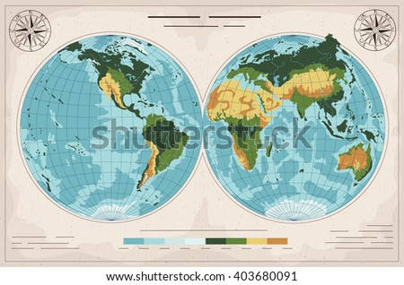 Amazing ancient geographic map. - stock vector
