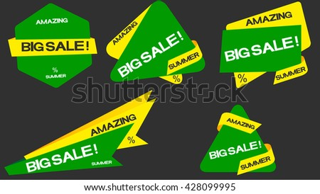Amazing big discount, logo, information for buyers. For summer - stock vector