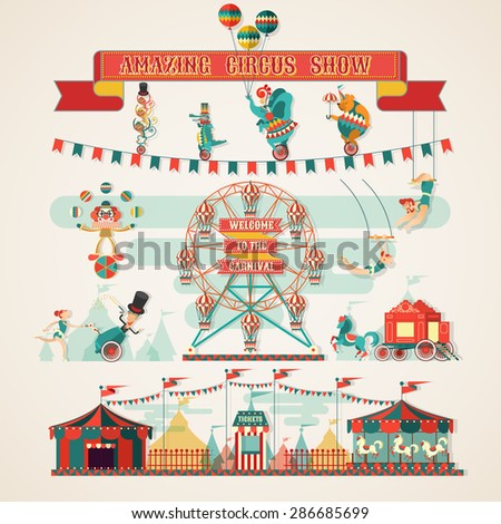 Amazing Circus Show elements - stock vector