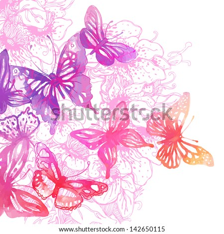 Amazing colorful background with butterflies and flowers painted with watercolors (vector illustration) - stock vector