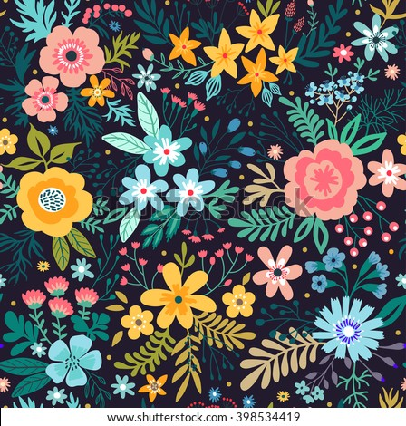 Amazing floral pattern with bright colorful flowers, plants, branches and berries on a black background. The elegant the template for fashion prints. - stock vector